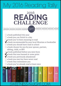 Reading Challenge Check In.